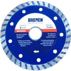 "Disco diamantado turbo 4 1/2"" BREMEN 4525"