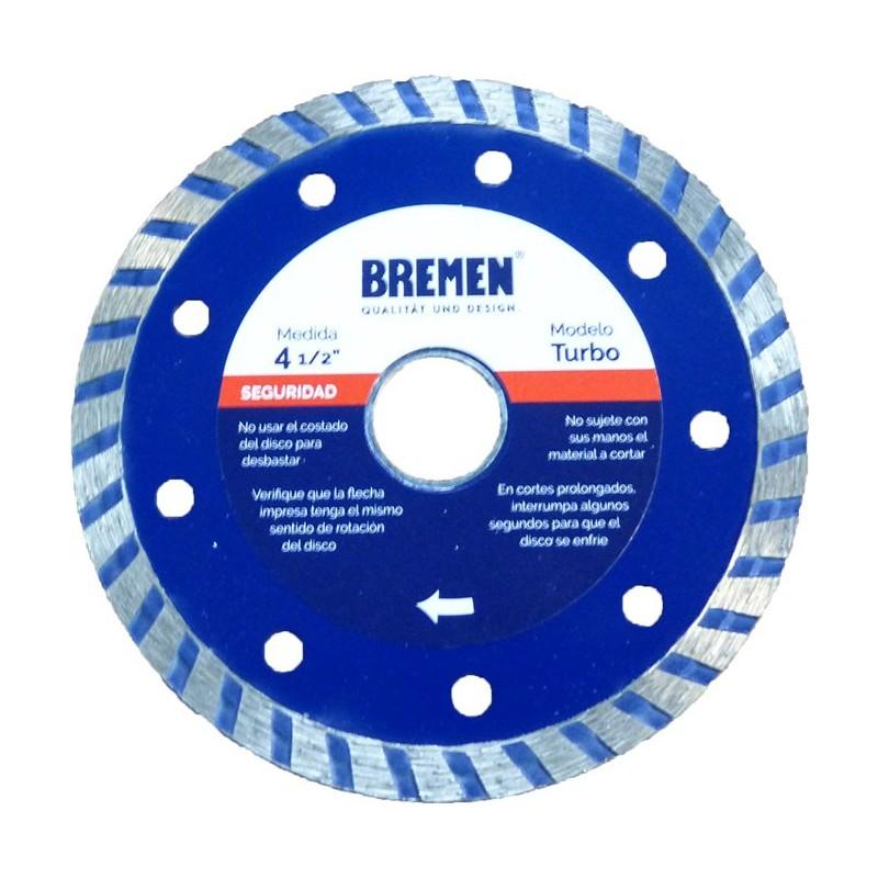 """Disco diamantado turbo 4 1/2"""" BREMEN 4525"""