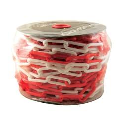 Cadena plástica roja y blanca